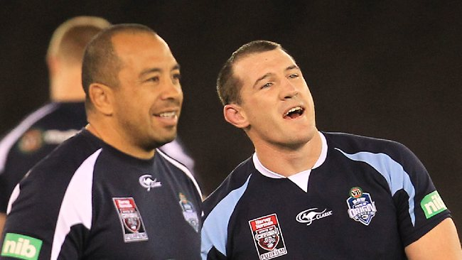 NSW assistant coach Jim Dymock and Paul Gallen. Picture: Mark Evans