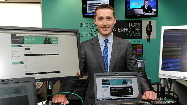 Prominent bookmaker Tom Waterhouse at his battle station where he bunkers down on race day. Picture: Michael Dodge