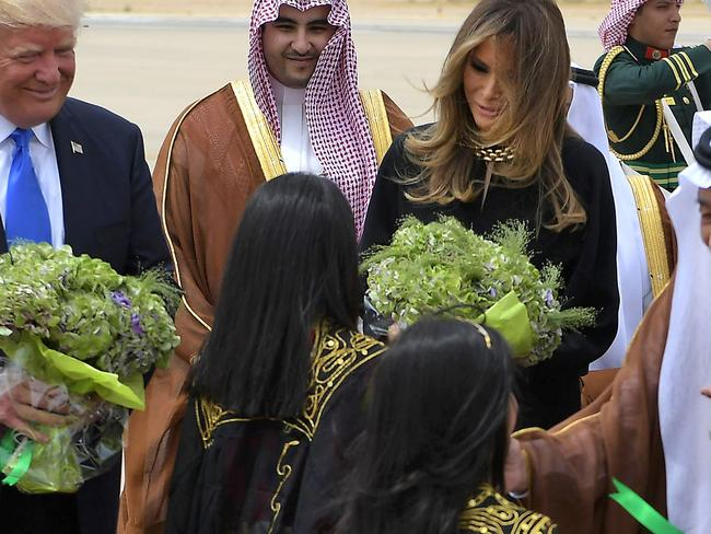 US President Donald Trump and First Lady Melania Trump take part in a welcome ceremony upon their arrival in Saudi Arabia. Picture: AFP
