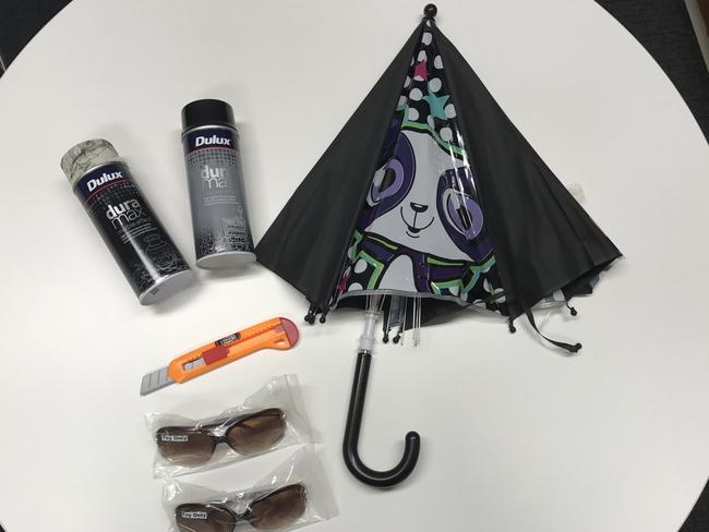 Items banned from showbags at this year's Royal Adelaide Show, including spray paint cans and a toy Stanly knife, following an inspection by Consumer and Business Services. Picture: Supplied.