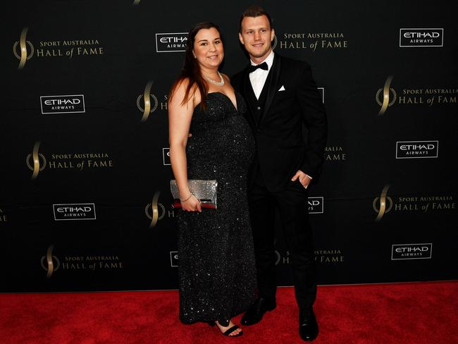 Jeff Horn with his wife Joanna on the red carpet.