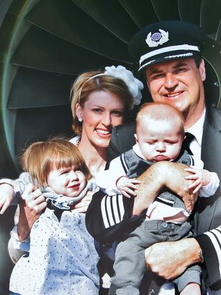 Virgin pilot Scott Wickland with his wife Kellie and children, Grace Lorraine and Hugh Rangeley.