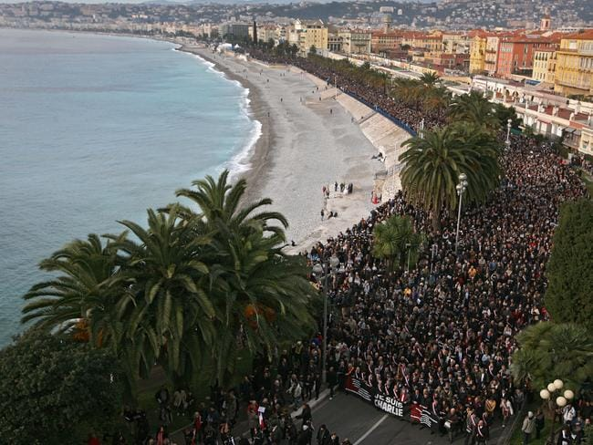 Silent march .... People take part in a silent procession in Nice. Picture: Lionel Cironneau/AP