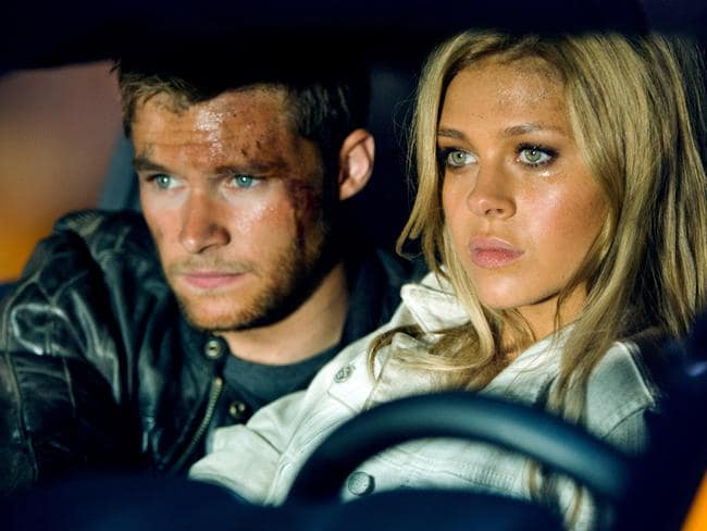 Nicola Peltz as Tessa Yeager and Jack Reynor as Shane Dyson in  <i>Transformers: Age of Extinction</i>.