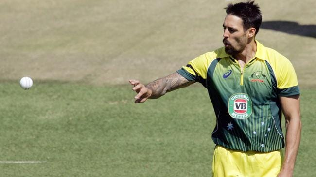 Johnson shows off his goatee during Australia's one-day win over Zimbabwe.