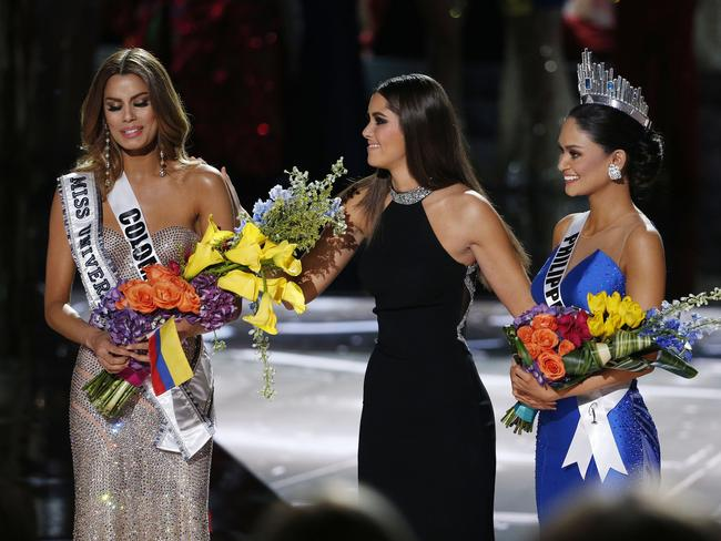 Miss Colombia looks upset after the crown was taken off her. Picture: John Locher/AP Photo.
