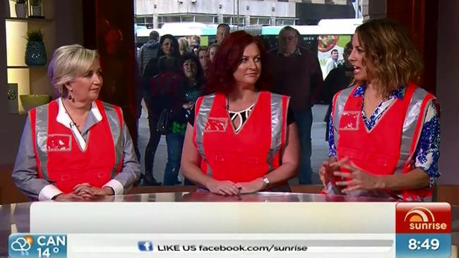 Kochie's Angels wear high-visibility vests on Sunrise following the Daily Telegraph's exclusive expose. Picture: Sunrise