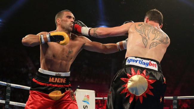 Anthony Mundine v Daniel Geale's world title fight at the Sydney Entertainment Centre. Pic. Mark Evans