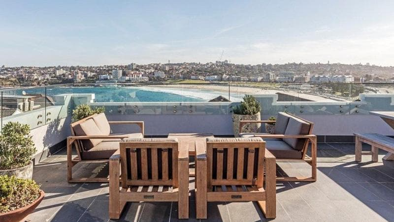 The rooftop of Simon Baker and Rebecca Trigg's North Bondi pad.