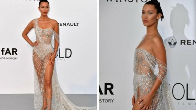 Bella Hadid on the Cannes red carpet. Photo: AFP