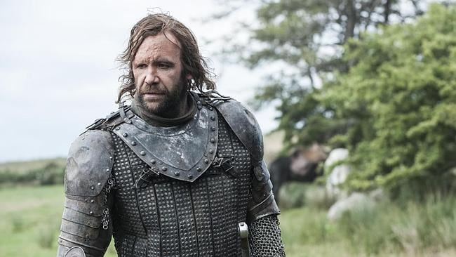 The Hound looking rueful, because deep down he's actually a really good guy. (Game of Thrones Season 4 is coming April 7 to Showcase on Foxtel)
