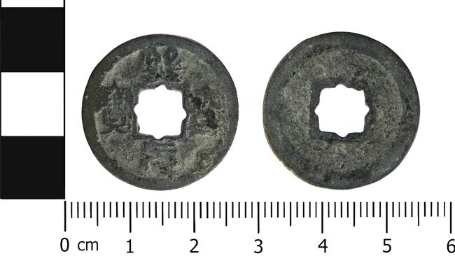 The worn cast copper alloy Chinese coin, from the Northern Song dynasty (960 AD to 1127 AD), minted during the Xining reign between 1068 and 1077 AD, and found in Britain. Picture: Portable Antiquities Scheme
