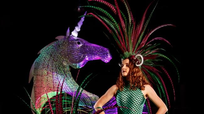 A dancer with the Silver Unicorn float that will wow festival-goers at tonight's Fringe Parade. Picture by Matt Turner.