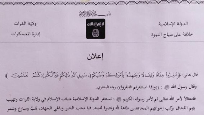 A document from an IS tweet recruiting fighters.