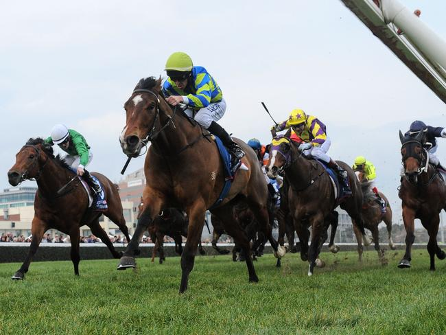 Joe Bowditch drives Get The Nod to the line to win at Caulfield on Saturday. Picture: Getty Images