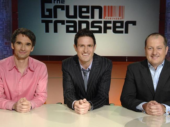 Success: Wil Anderson as the host of one of television's most popular shows The Gruen Transfer. Pictured with Todd Sampson and Russel Howcroft.