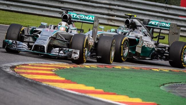 Mercedes drivers Lewis Hamilton of Britain, left, and Nico Rosberg of Germany during their explosive Belgian Grand Prix duel.