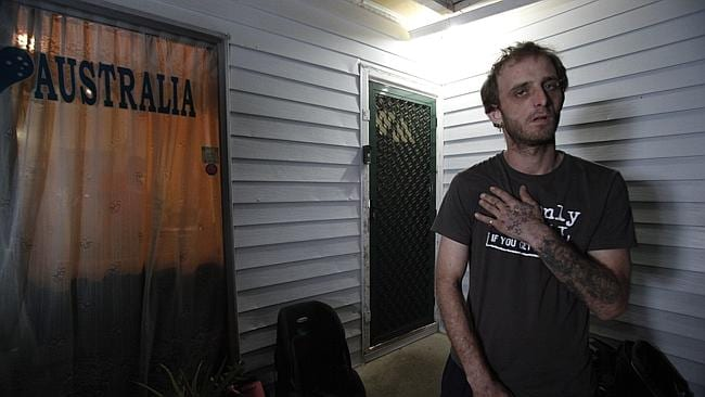 Brother injured ... Robert Leuthwaite at the house where his brother was gunned down. Picture: John Grainger.