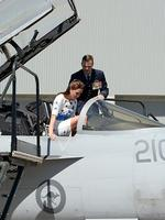 The Duchess of Cambridge climbs into the cockpit of an F/A-18F Super Hornet.