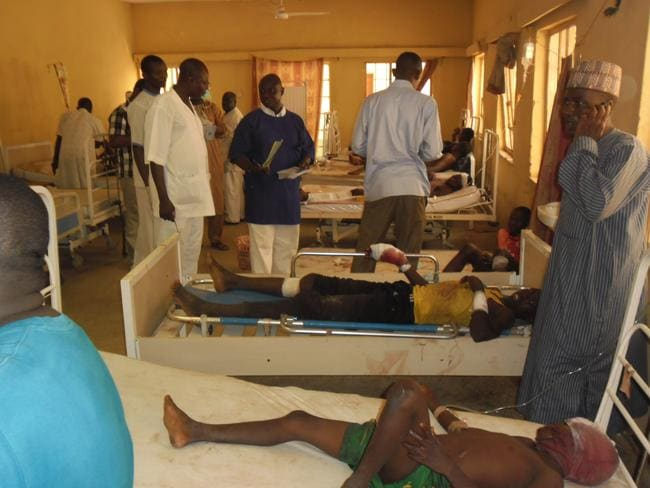 Victims ... at least 26 people were wounded in Tuesday night's blast as soccer fans were viewing the Brazil-Mexico match in Damaturu. Picture: Adamu Adamu