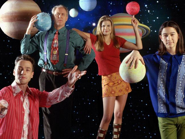 Big Break ... Joseph Gordon-Levitt, right, got his start in TV's 3rd Rock from the Sun, alongside French Stewart, John Lithgow and Kristen Johnston. Picture: Supplied.