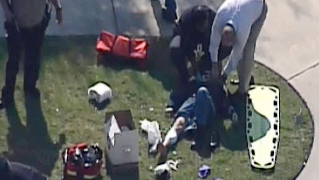 In this frame grab provided by KPRC Houston, an unidentified person is attended to by emergency personnel at Lone Star College. Picture: KPRC TV