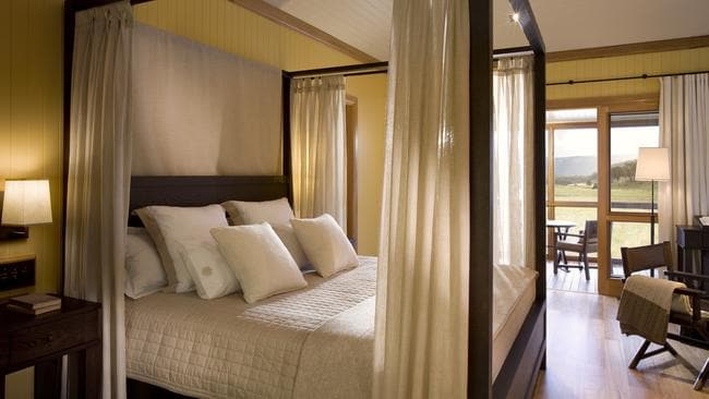 A luxe, 4-poster bed at Wolgan Valley Resort & Spa Picture: Supplied