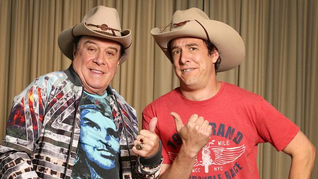 Hat's magic ... Molly Meldrum and Samuel Johnson give the mini-series Molly the thumbs up. Picture: Andrew Tauber