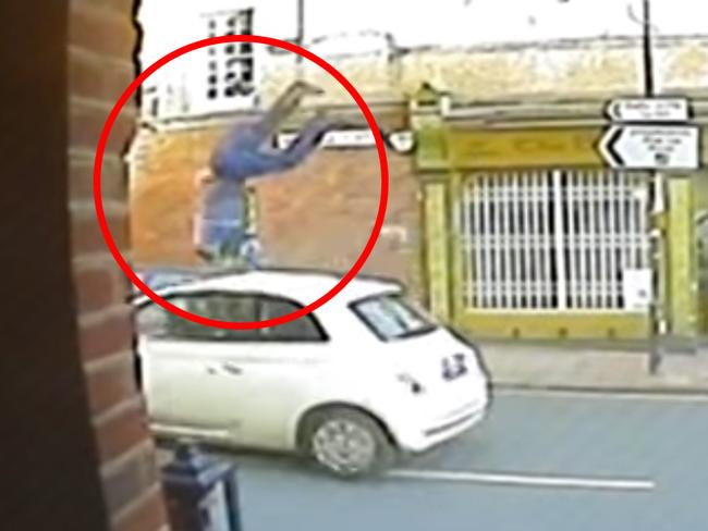 Caught on camera ... the victim was thrown into the air in the horrific hit-and-run. Picture: Sussex Police