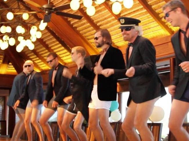 You can leave your hat on ... Richard Branson and male relatives show what they've got.