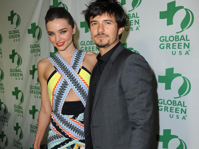 Happier times ... Orlando Bloom and Miranda Kerr arrive at Global Green USA's pre-Oscar party in 2013. Photo by Jordan Strauss/Invision/AP
