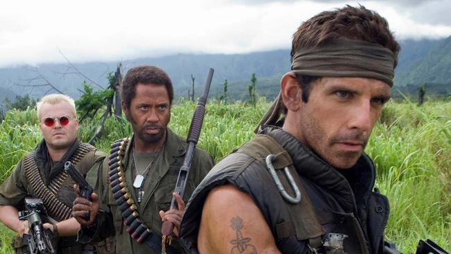 Jack Black, Robert Downey Jnr and Ben Stiller in Tropic Thunder.