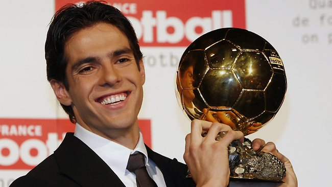 Brazilian footballer Kaka shows off his Golden Ball trophy in 2007. AC Milan says he will stay with the club for two years and there are no plans for him to relocate to LA Galaxy.