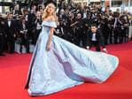 Elsa Hosk poses as she arrives on May 24, 2017 for the screening of the film 'The Beguiled' at the 70th edition of the Cannes Film Festival in Cannes, southern France. Picture: AFP