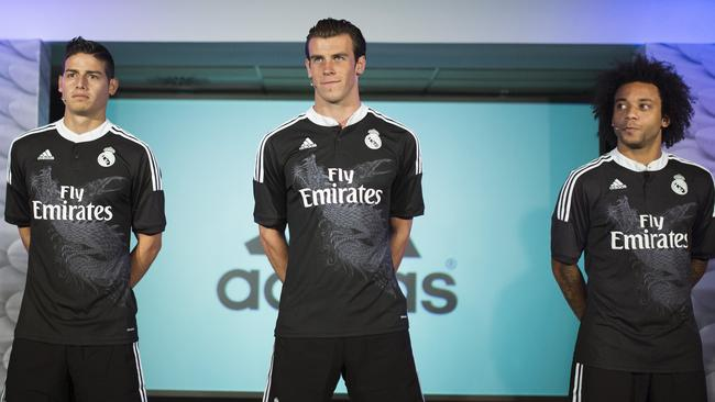 Real's James Rodriguez, left, Gareth Bale, centre and Marcelo.
