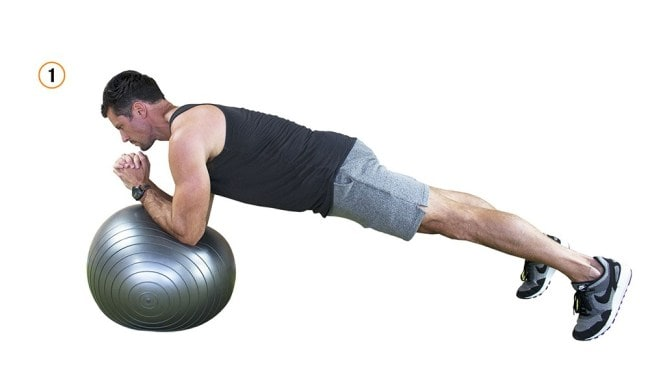 Plank with Swiss ball