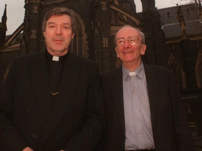 George Pell pictured with his predecessor, Archbishop Sir Frank Little in 1996.