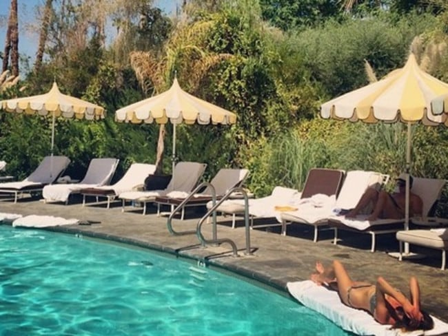 Csortan works on her tan at the Parker hotel, in Palm Springs. Picture: Instagram