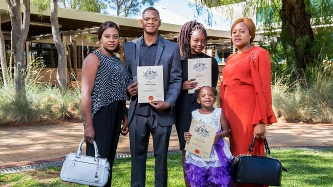 Nyembezi Zulu, Mavuto Zulu, Shanice Zulu, Shanelle Mbalenhle Zulu, and Monica Zulu became Australian citizens in Alice Springs in September. (Pic: Emma Murray)