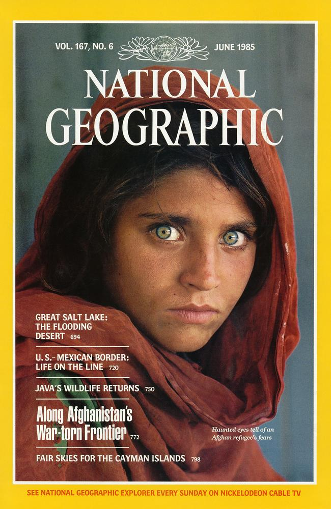 A vivid print of Sharbat Gula seemed on a cover of National Geographic in 1985. Picture: National Geographic Society