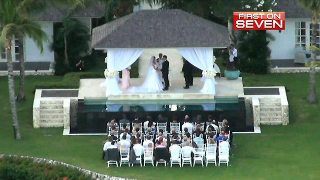 Jennifer Hawkins and Jake Wall wed at Semora Uluwatu in Bali / Pic: Channel 7