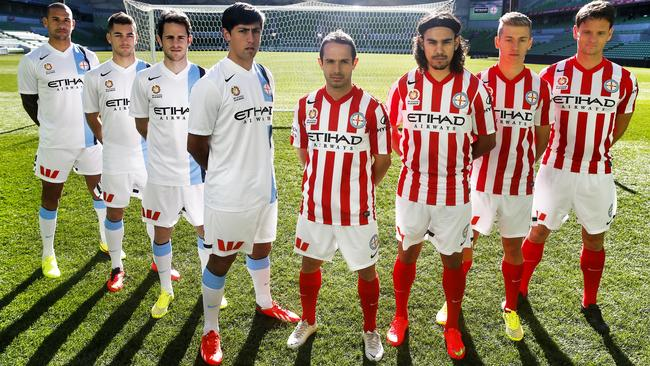 Patrick Kisnorbo, Ben Garuccio, Mate Dugandzic and Jonatan Germano wear Melbourne City's white home strip and Massimo Murdocca, David Williams, Stefan Mauk and Rob Wielaert wear the red kit.