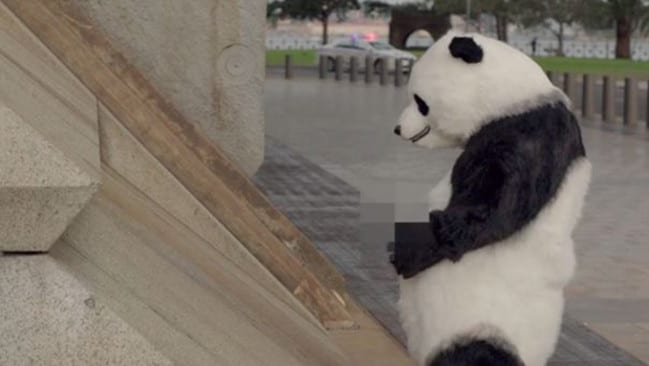Naughty ... a panda bear is depicted urinating on the side of the Sydney Harbour Bridge.