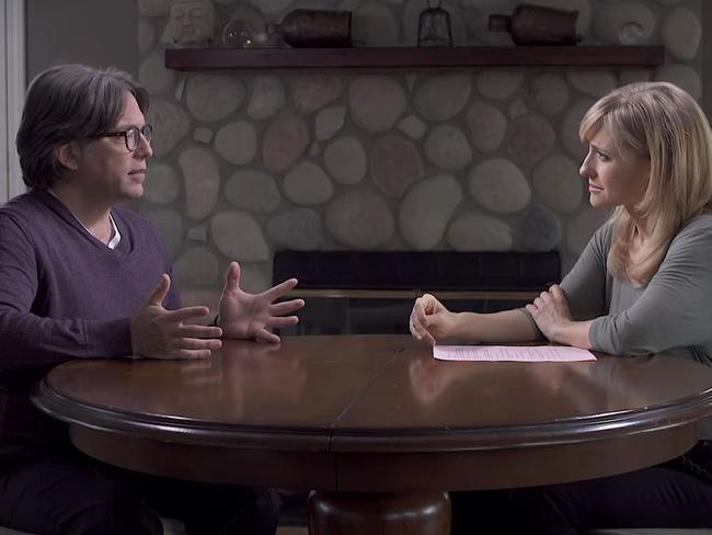 Allison Mack and alleged cult leader Keith Raniere. Picture: Keith Raniere Conversations/Youtube
