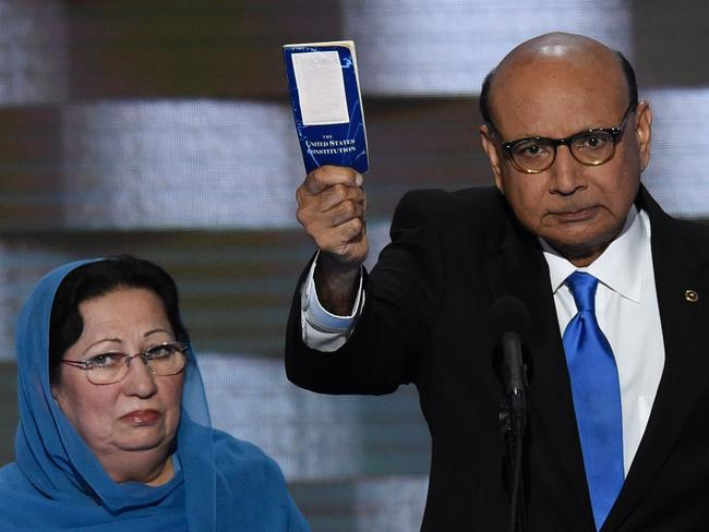 Ghazala and Khizr Khan, the parents of fallen Muslim American soldier Humayun Khan, speak at the Democratic National Convention in 2016. Picture: AFP/Saul Loeb
