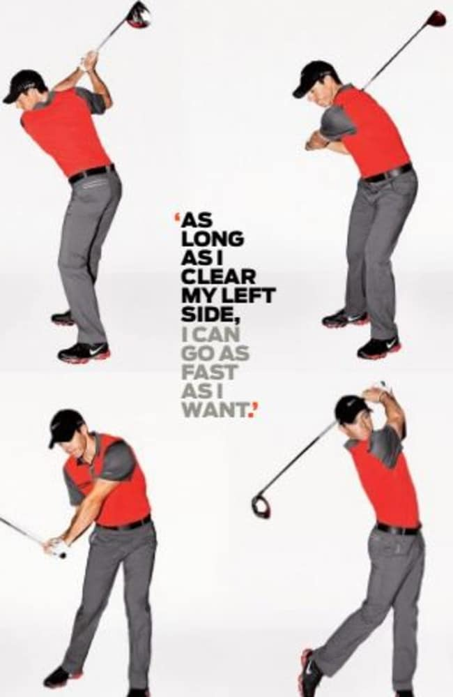 McIlroy's demonstrates the different stages of his swing.