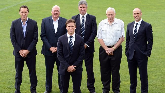 Carlton's captains past and present (from left) Anthony Koutoufides, Mark McClure, Marc Murphy Stephen Kernahan, John Nichols and Chris Judd. Picture: Wayne Ludbey