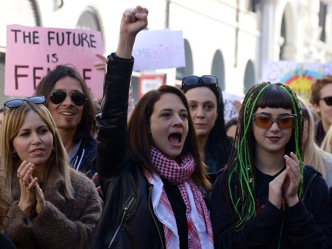 Italian actress Asia Argento (centre) attends the Women's March in Rome on January 20, 2018. Picture: AFP