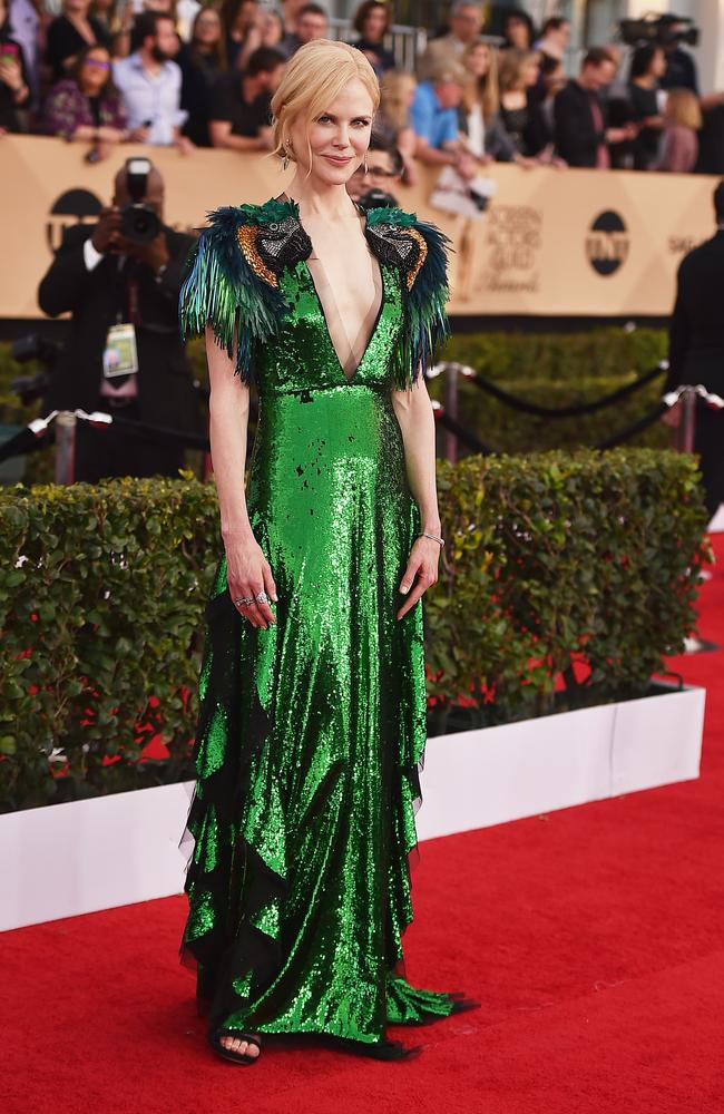 Green with envy in sequined Gucci at the Screen Actors Guild Awards.