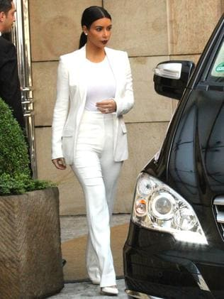 Kim leaving her Prague hotel.